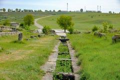 Adamclisi罗马堡垒废墟在多布罗加罗马尼亚 免版税库存照片