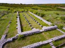 Adamclisi alter Roman Fortress in Vogelperspektive Dobrogea Rumänien Stockfotografie