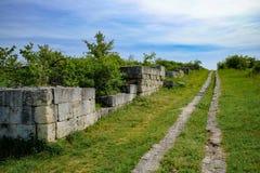 Adamclisi alter Roman Fortress in Vogelperspektive Dobrogea Rumänien Stockbilder