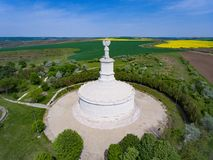 Adamclisi Monument in Dobrogea Romania. Aerial view of the archeological site Stock Images