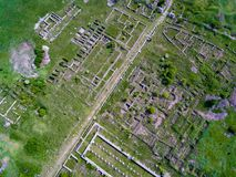Adamclisi old fortress in Dobrogea Romania aerial view. Adamclisi old fortress in Dobrogea Romania  aerial view of archeological site Royalty Free Stock Photo