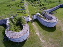Adamclisi old ofrtress walls Roman fortification in Dobrogea Rom. Ania Royalty Free Stock Photo