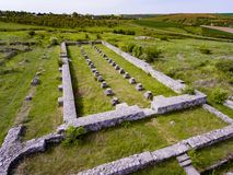 Adamclisi old Roman Fortress in Dobrogea Romania aerial view. Of the archeological site Stock Photography