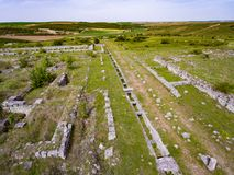 Adamclisi old Roman Fortress in Dobrogea Romania aerial view. Of the archeological site Stock Image