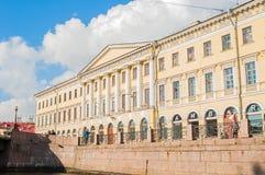 Adamini议院,建造在冠军de火星和Moika堤防,圣彼德堡,俄罗斯的角落 免版税库存图片