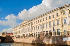 Adamini议院,建造在火星和Moika堤防的领域的角落,圣彼得堡,俄罗斯 库存图片
