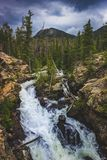 Adams Falls. On a cloudy day with mountains and trees in the background along the East Inlet Trail of Rocky Mountain National Park, Colorado Stock Image