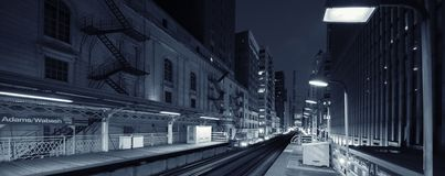 Adams Wabash black and white by night royalty free stock image