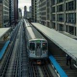 Adams Wabash Train line towards Chicago Loop royalty free stock images