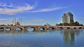 Adana City Bridge. A bridge going across the Seyhan river in Adana, Turkey stock photo