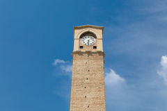 Adana Clock Tower. Bottom view of Adana Clock Tower which is the biggest of Turkey, on blue sky background Stock Photos