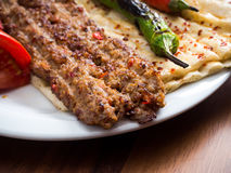 Adana Kebab. S with flatbread, tomato and pepper Royalty Free Stock Image