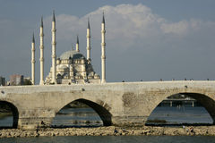 Adana, Turkey. Mosque with old bridge in Adana, Turkey Royalty Free Stock Photos