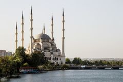 Adana / Turkey, Sabanci Central mosque view. Travel concept photo stock photography