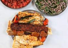 Adana y kebabs turcos con las ensaladas de la cebolla y de los tomates fotos de archivo libres de regalías