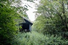 Adandoned bussgarage i en skog arkivfoto