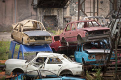 The adandoned scrapyard with cars Royalty Free Stock Image