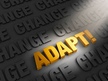 Adapt to Confront Change. A spotlight illuminates bright, gold ADAPT! on a dark background of CHANGE Royalty Free Stock Photography