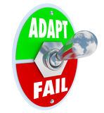Adapt Vs Fail Words Toggle Switch Success Life Career Change. Adapt Vs Fail words on a toggle switch lever to illustrate changing and innovating to survive and Stock Photos