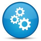 Adapta el botón redondo azul ciánico especial del icono stock de ilustración
