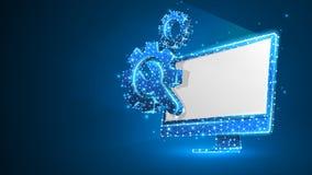 Adapta la llave ajustable en el monitor de computadora blanco Industria, tecnolog?a del negocio, concepto de los ajustes Extracto stock de ilustración