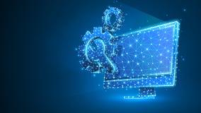 Adapta la llave ajustable en el monitor de computadora Industria, tecnolog?a del negocio, concepto de los ajustes Extracto, digit libre illustration