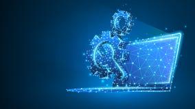Adapta la llave ajustable en la pantalla del ordenador portátil Industria, tecnolog?a del negocio, concepto de los ajustes Extrac stock de ilustración