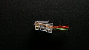 Adaptador de enchufe de Ethernet en fondo negro metrajes