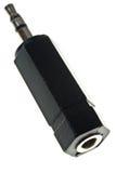 Adaptador de enchufe estéreo negro de gato fotos de archivo
