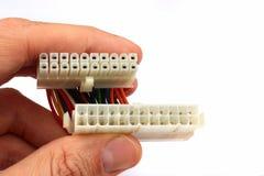 Adaptador do poder do cartão-matriz do PC, com 20 pinos e 24 conectores do pino ATX foto de stock