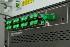Adaptadores ópticos de fibra del SC cubiertos Fotos de archivo
