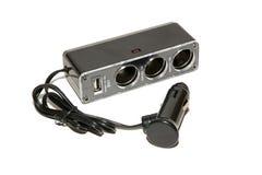 Adaptator dla ładować USB przyrząda od samochodowej papierosowej zapalniczki obraz royalty free