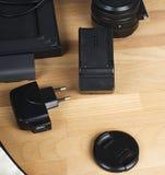 Adaptator i obiektyw na stole Fotografia zdjęcia royalty free