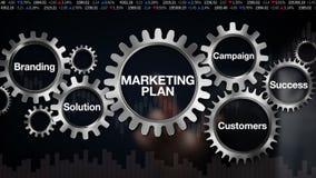 Adapte con la palabra clave, calificando, solución, clientes, campaña, éxito, pantalla táctil del hombre de negocios 'plan de már ilustración del vector