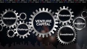 Adapte con la palabra clave, desafío, innovación, inversión, finanzas, Analytics, pantalla táctil del hombre de negocios 'CAPITAL stock de ilustración