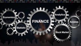 Adapte con la palabra clave, economía, estadística, mercado de acción, acceso, Analytics, pantalla táctil del hombre de negocios  stock de ilustración