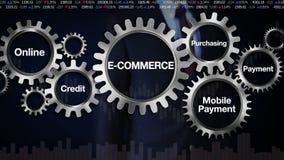 Adapte con la palabra clave, en línea, crédito, comprando, pago móvil Pantalla táctil 'COMERCIO ELECTRÓNICO' del hombre de negoci ilustración del vector