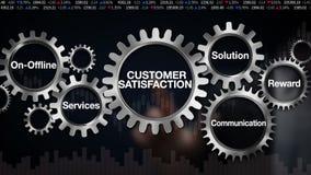 Adapte con la palabra clave, En-off-line, servicios, solución, recompensa, comunicación, tacto 'SATISFACCIÓN DEL CLIENTE' del hom libre illustration