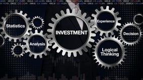 Adapte con la palabra clave, estadísticas, análisis, pensamiento lógico, experiencia, decisión Empresaria que toca la 'INVERSIÓN' libre illustration