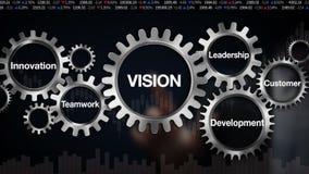 Adapte con la palabra clave, innovación, desarrollo, trabajo en equipo, dirección, cliente Pantalla táctil del hombre de negocios