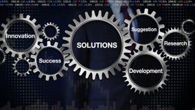 Adapte con la palabra clave, investigación, sugerencia, desarrollo, innovación, éxito, hombre de negocios que toca 'soluciones' libre illustration