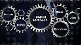 Adapte con la palabra clave, mercados, marcas, compromiso, uso, usuarios, hombre de negocios que toca 'FIDELIDAD A LA MARCA' libre illustration