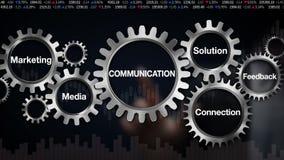 Adapte con la palabra clave, solución, reacción, conexión, márketing, medio, pantalla táctil del hombre de negocios 'COMUNICACIÓN libre illustration