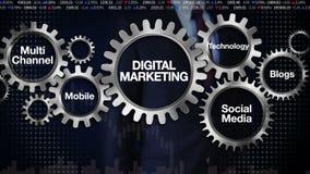 Adapte con la palabra clave, tecnología, blogs, medios sociales, canal multi, móvil, hombre de negocios que toca el 'MÁRKETING de ilustración del vector