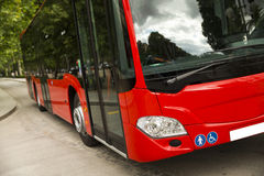 Adapted a bus to transport disabled persons. Urban transport stock photo