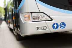 Adapted a bus to transport disabled persons. Urban transport Royalty Free Stock Photos