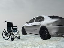 Adapted car for handicapped person - 3D render. Wheelchair next to a car for symbolizing handicapped person accessibility Stock Images