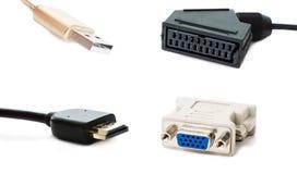 Adapter SCART, USB, HDMI und DVI Stockbilder
