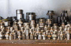 Adapters for hydraulic hoses Stock Photo