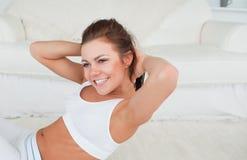 Adaptez l'exercice de femme Photo libre de droits